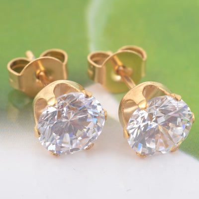 Round Crystal Stud Earrings