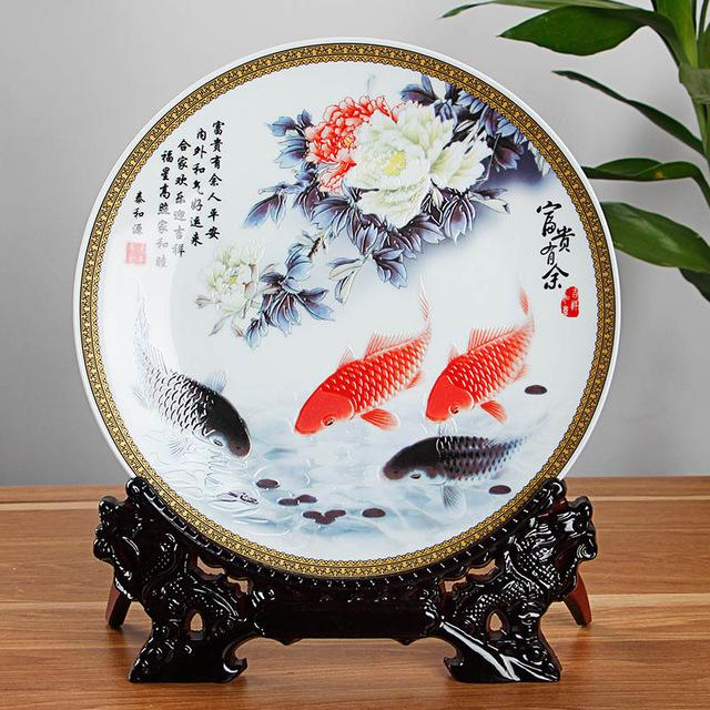 Five; Ceramic Decorative Plates - \ Fishing by the Lake\  from Jingdezhen China. & Ceramic Decorative Plates - \