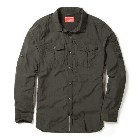 Adventure shirt l/s dark khaki