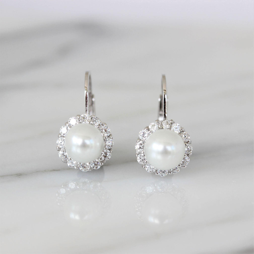 Genuine Sterling Silver 925 Bridal Glass Pearl & CZ Leverback Drop Earrings