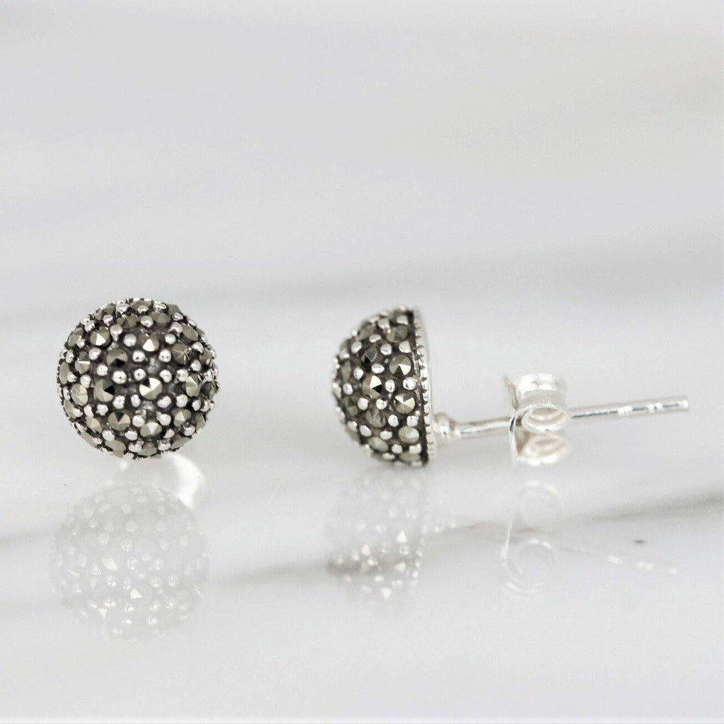 Sterling Silver 925 Marcasite Vintage Style 7mm Dome 1/2 Ball Stud Earrings