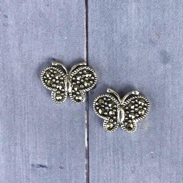 GIGI DESIGNS Sterling Silver Vintage Inspired Marcasite Butterfly Stud Earrings