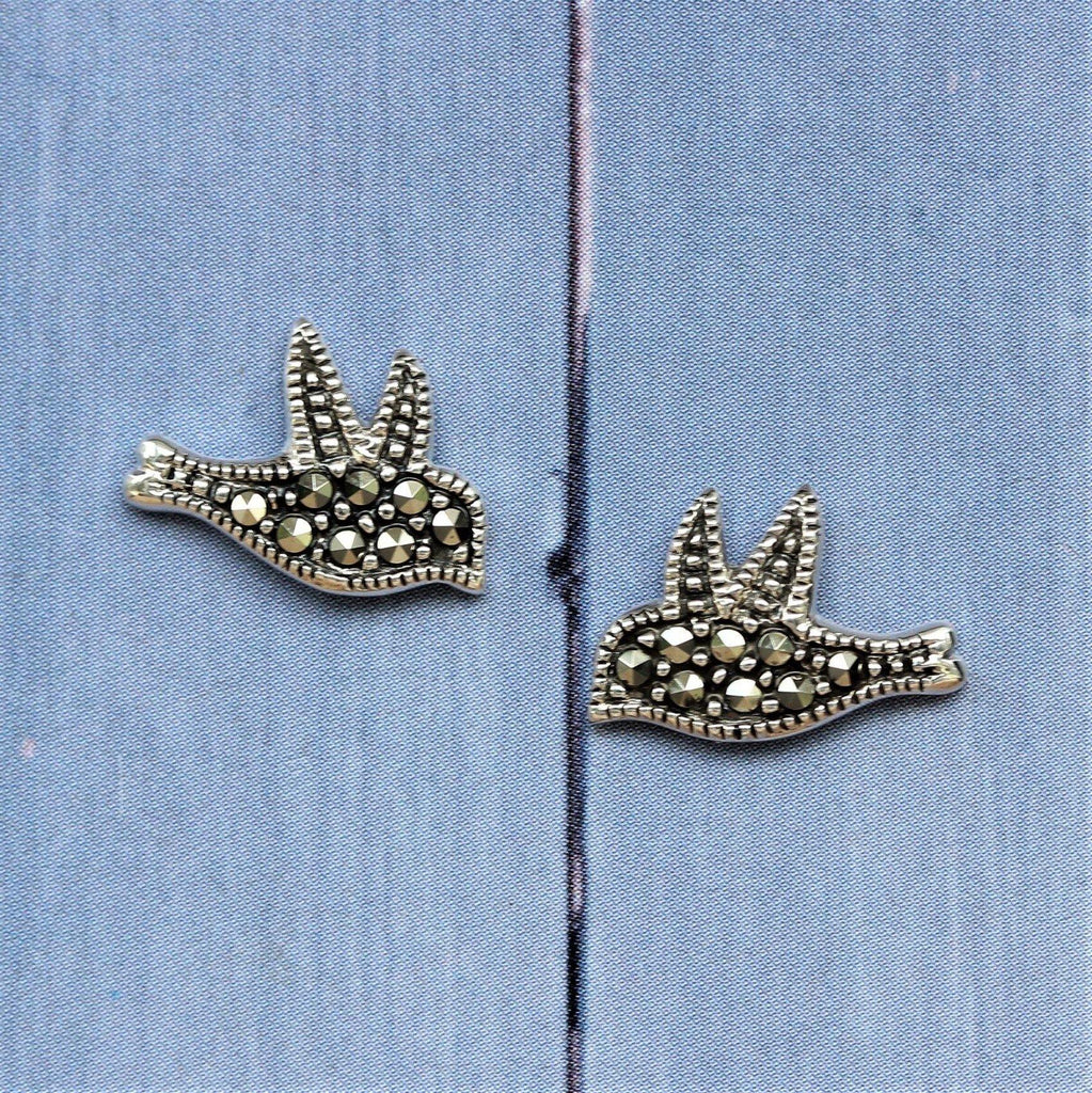 Sterling Silver 925 Vintage Style Marcasite Dove Bird Stud Earrings GIGI DESIGNS