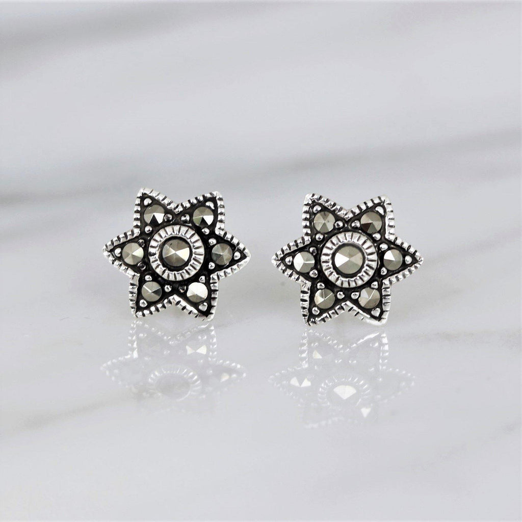 Sterling Silver Vintage Inspired Marcasite 10mm Star Stud Earrings GIGI DESIGNS