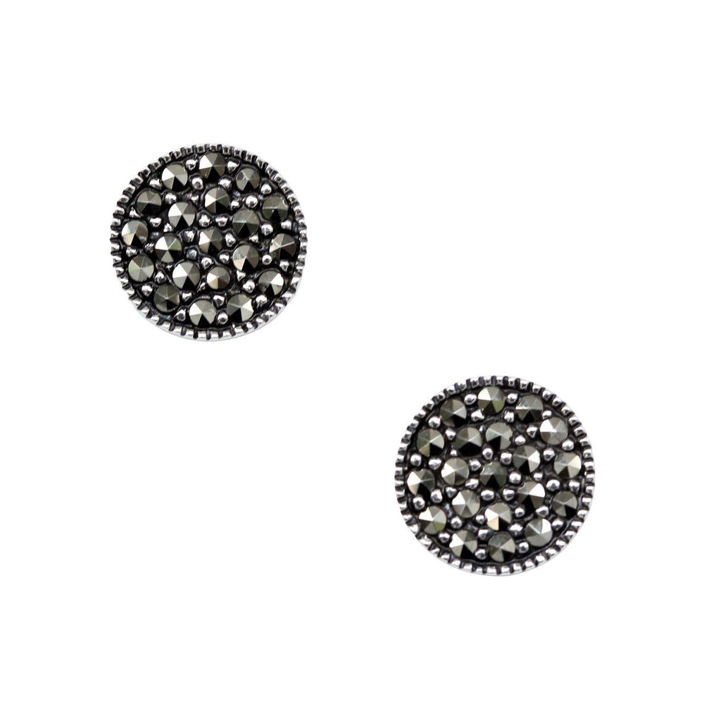 Genuine Sterling Silver 925 Marcasite Vintage Style 9mm Round Stud Earrings