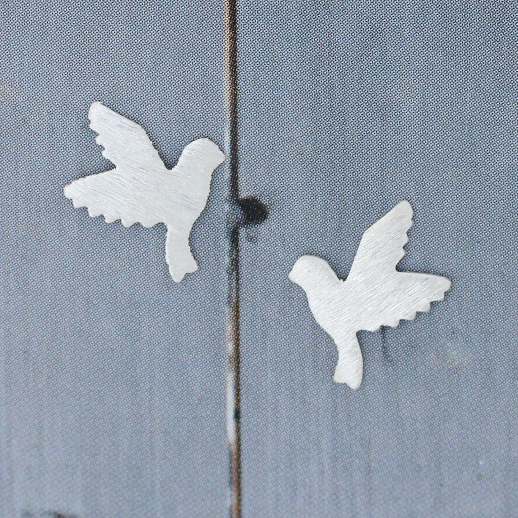 Genuine Sterling Silver 925 Small Matt Brushed Finish Dove Bird Stud Earrings