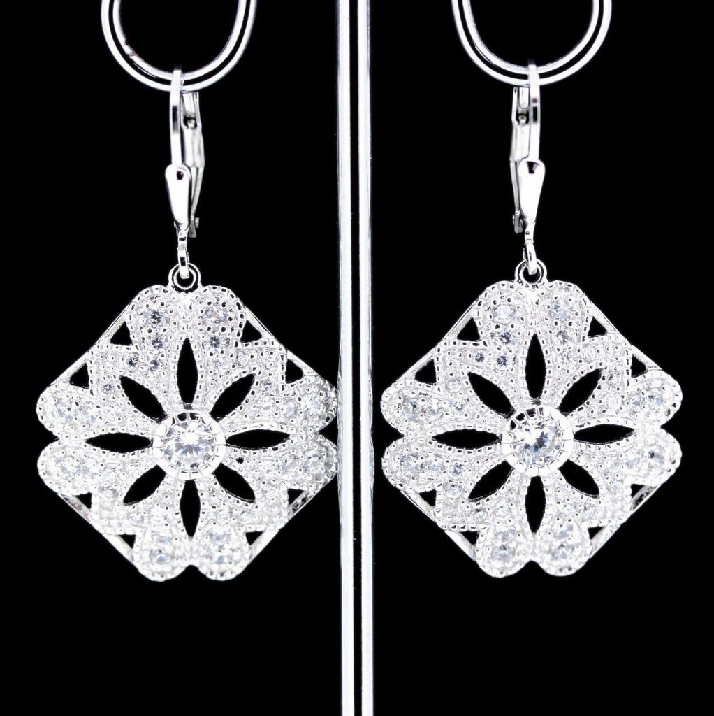Sterling Silver 925 Art Deco Inspired CZ Leverback Drop Earrings