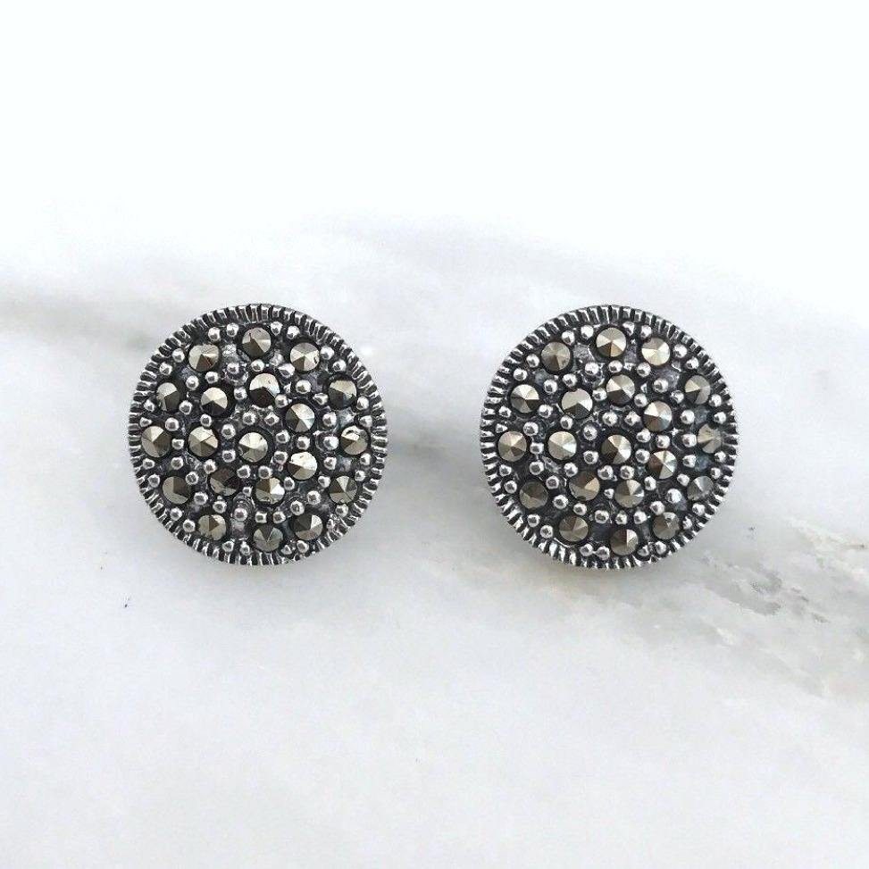Sterling Silver Swiss Marcasite Vintage Style Big 13mm Round Disc Stud Earrings