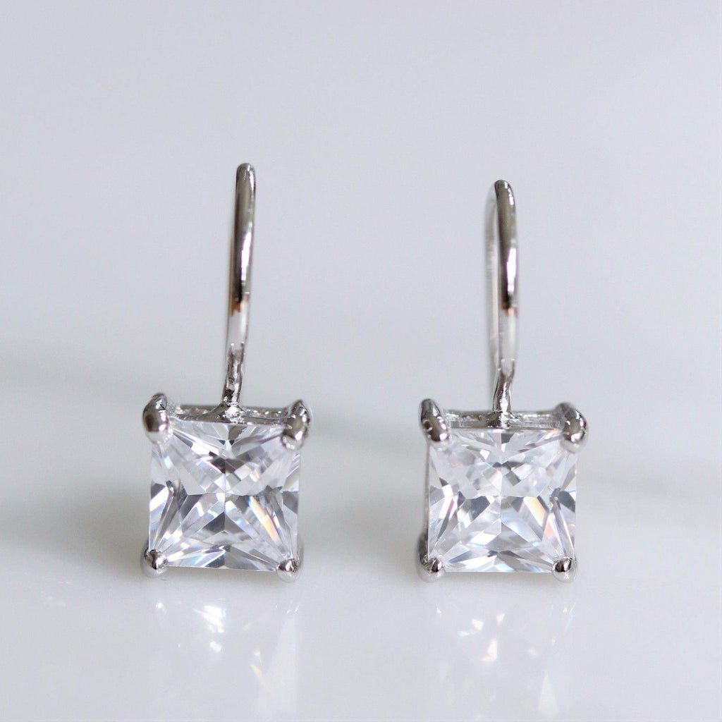 Genuine Sterling Silver Bridal 7mm Square CZ French Hook Drop Earrings
