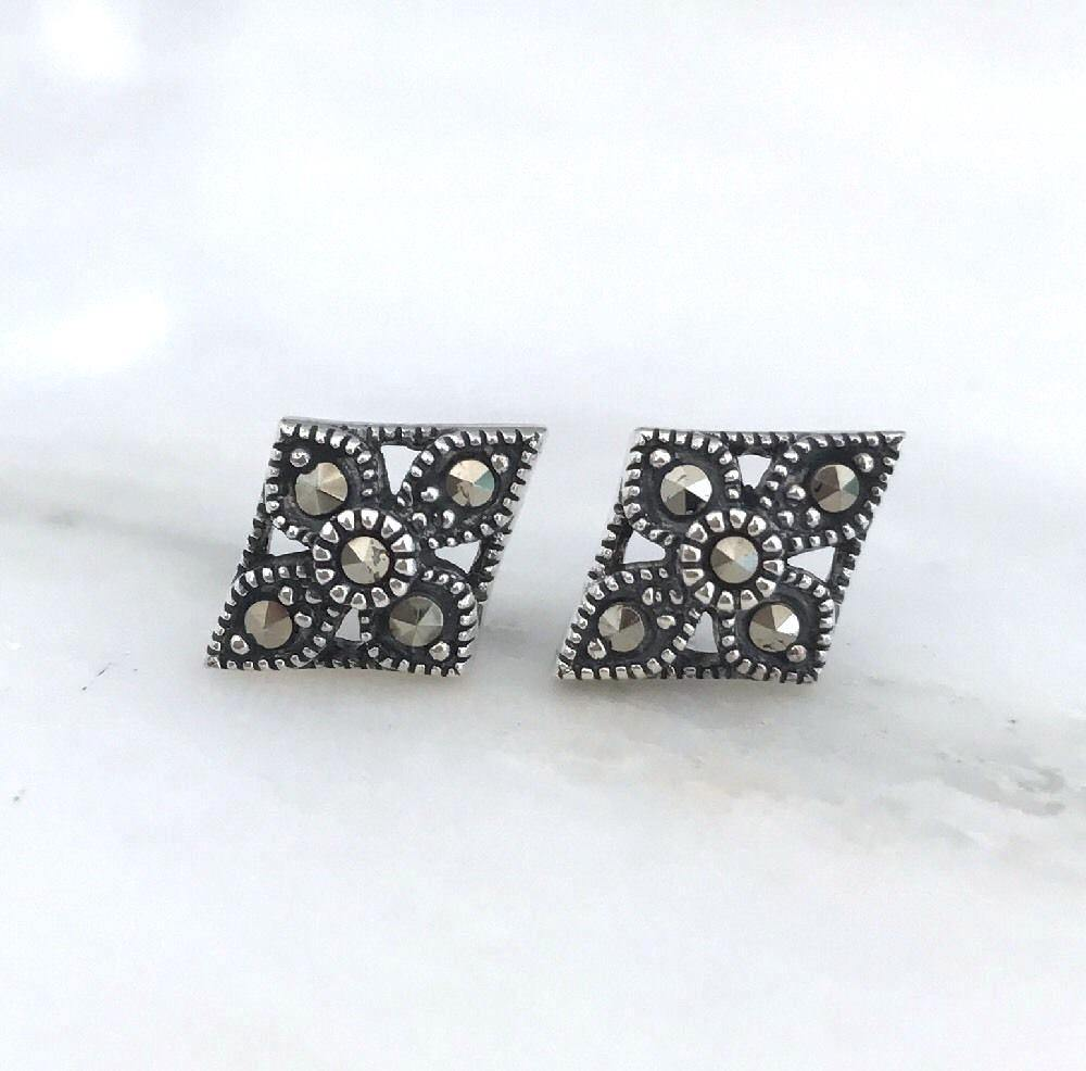 Sterling Silver 925 Marcasite 10x13mm Diamond Shape Flower Stud Earrings