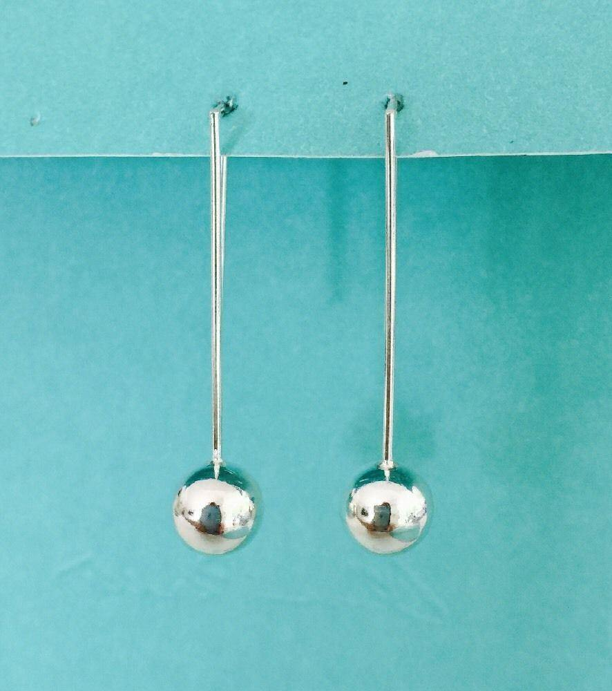 Genuine Sterling Silver 925 Long Hook With 8mm Round Ball Drop Earrings