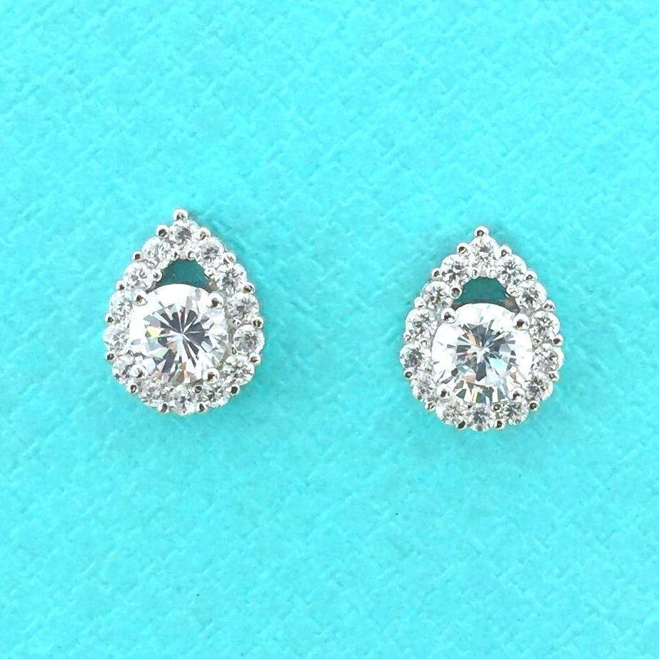 Genuine Sterling Silver 925 Bridal Wedding Pear Shape CZ Small Stud Earrings