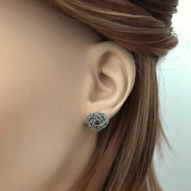 Sterling Silver 925 Marcasite Vintage Style 12mm Celtic Knot Stud Earrings
