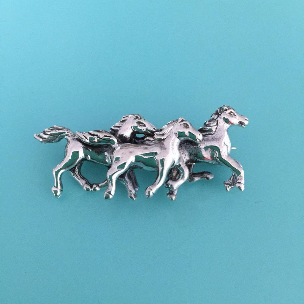 Genuine Sterling Silver 925 3 Running Horses Brooch Pin Equestrian