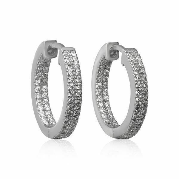 Sterling Silver 925 Pave Set Double Row CZ Huggie Hoop Earrings