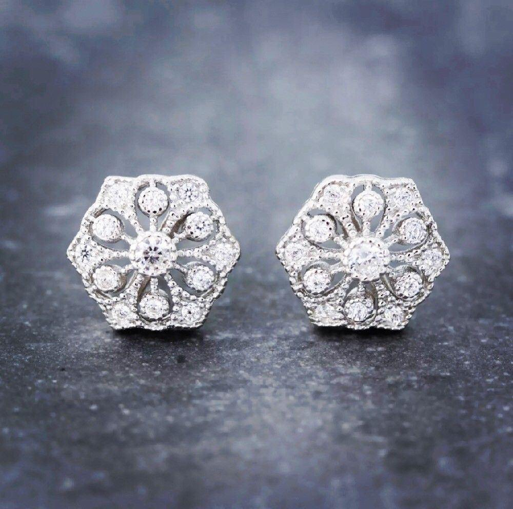 Sterling Silver 925 Bridal Wedding Hexagon Shape Art Deco Style CZ Stud Earrings