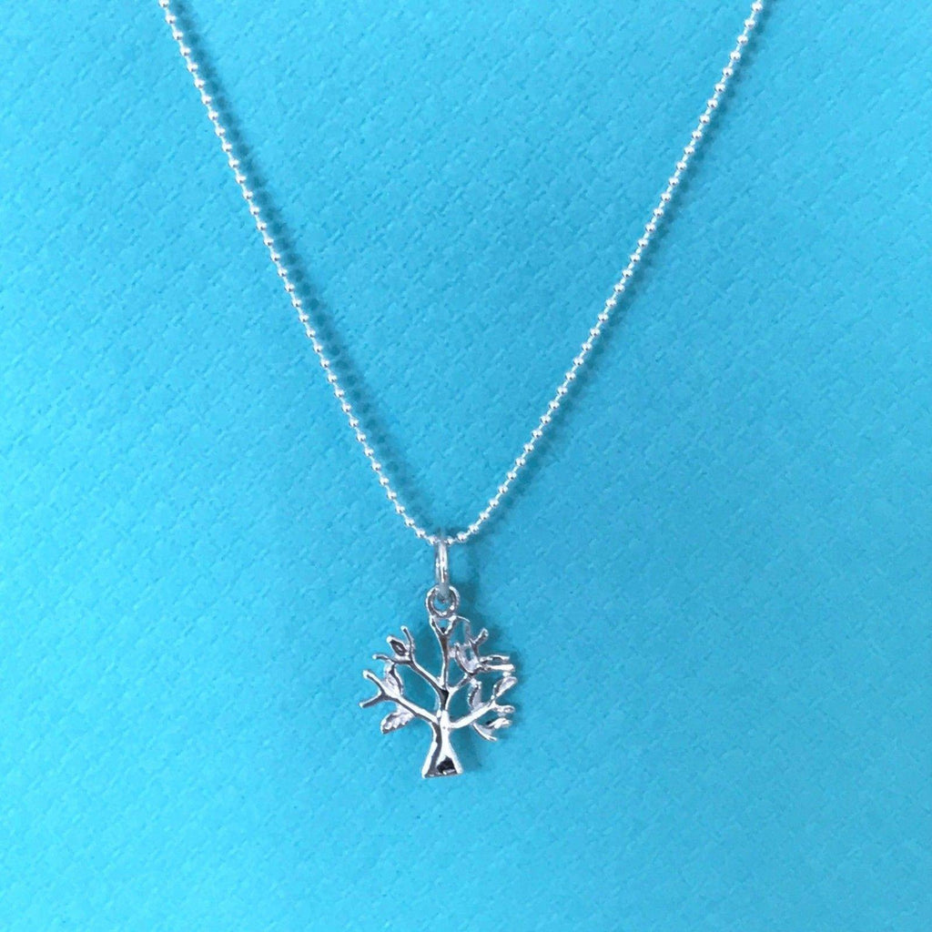 Sterling Silver 925 Small Tree of Life Pendant & 45cm Bead Ball Chain Necklace