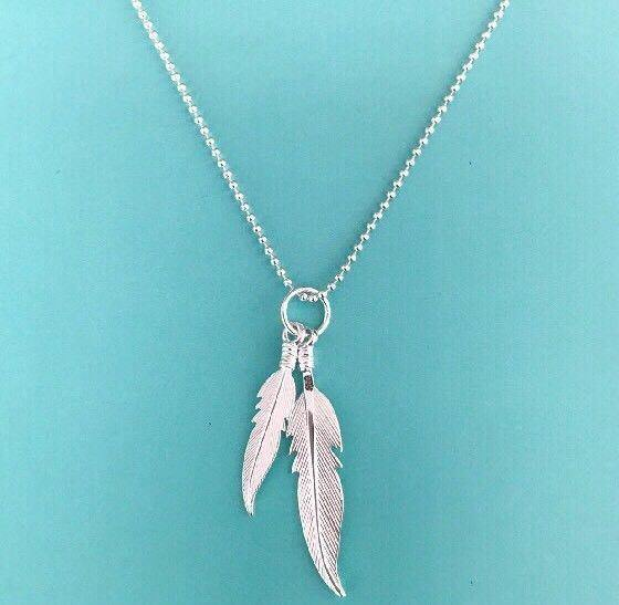 Genuine Sterling Silver 925 Double Feather Pendant & 55cm Ball Chain Necklace