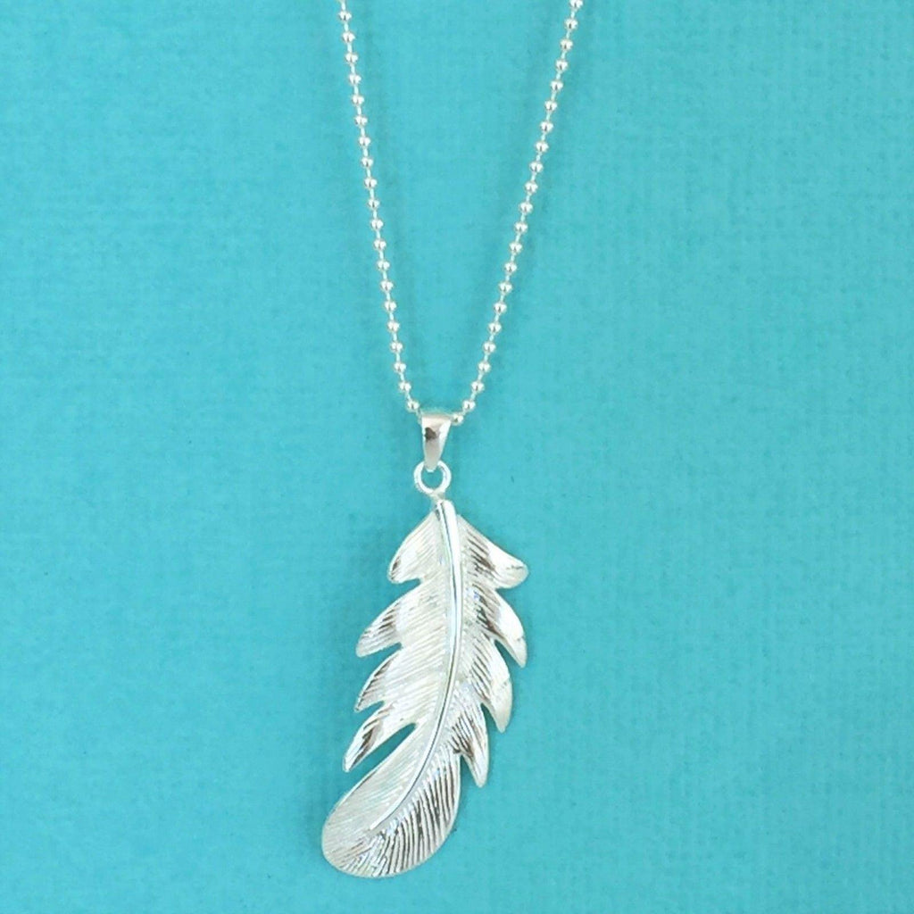 Sterling Silver 925 Single Feather Pendant (13 x 37) & 55cm Ball Chain Necklace