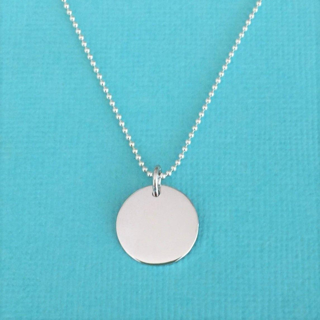 Genuine Sterling Silver 925 16mm Round Disc Pendant & 45cm Ball Chain Necklace