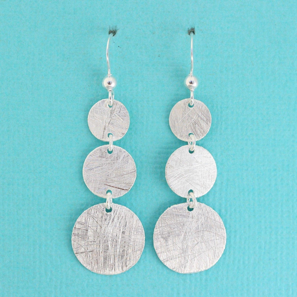 Genuine Sterling Silver 925 Triple Graduated Circle Matt Finish Drop Earrings
