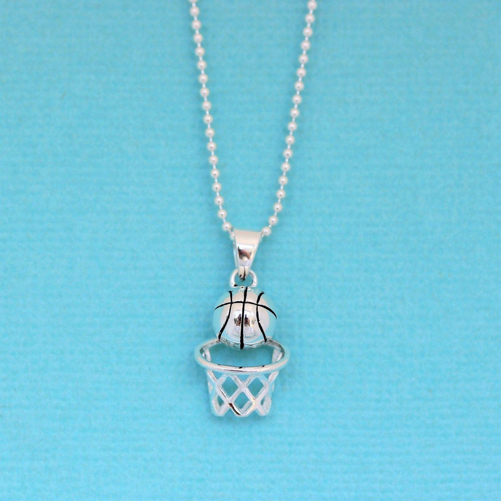 Genuine Sterling Silver 925 Basketball Hoop Pendant & 40cm Ball Chain Necklace