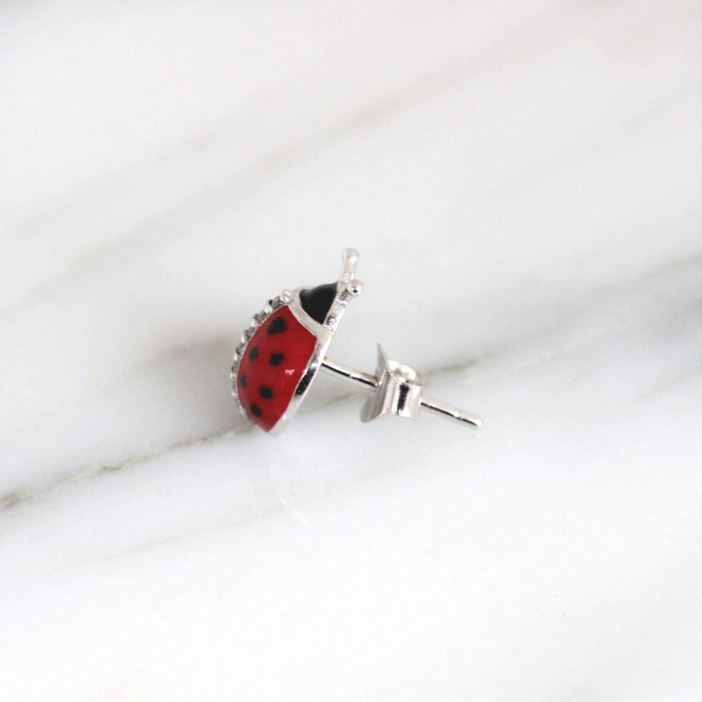 Genuine Sterling Silver 925 Girls Ladies Big CZ & Enamel Ladybug Earring Studs