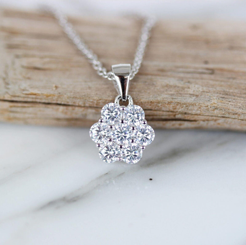 Sterling Silver 925 10mm Flower CZ Cluster Pendant & 45cm Italian Made Necklace