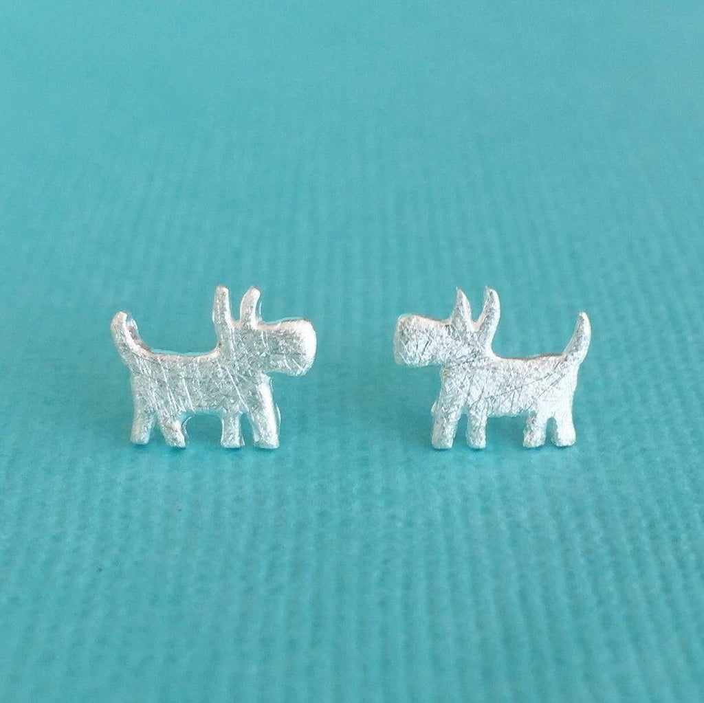Sterling Silver 925 Dog Stud Animal Earrings Ladies Kids Matt Brushed Finish