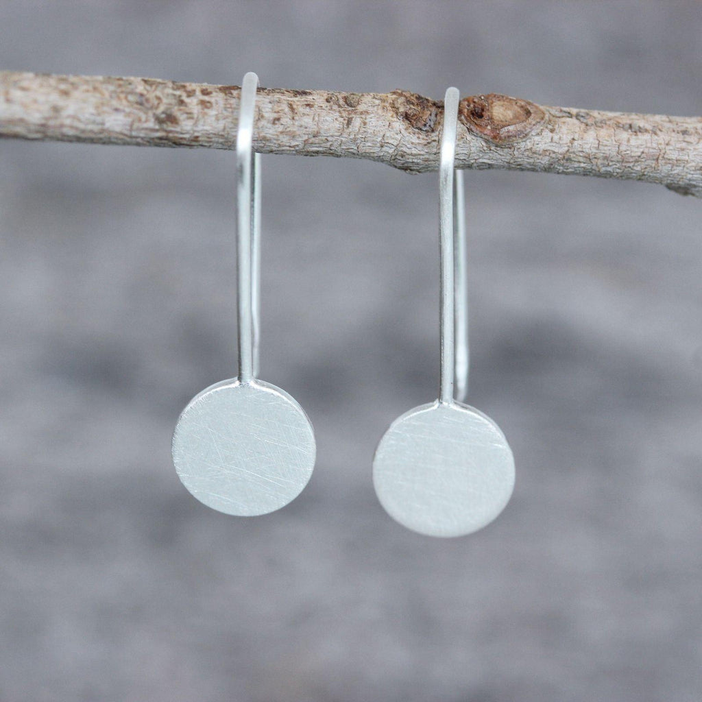 Genuine Sterling Silver 925 Matt Finish Small Circle on Hook Drop Earrings