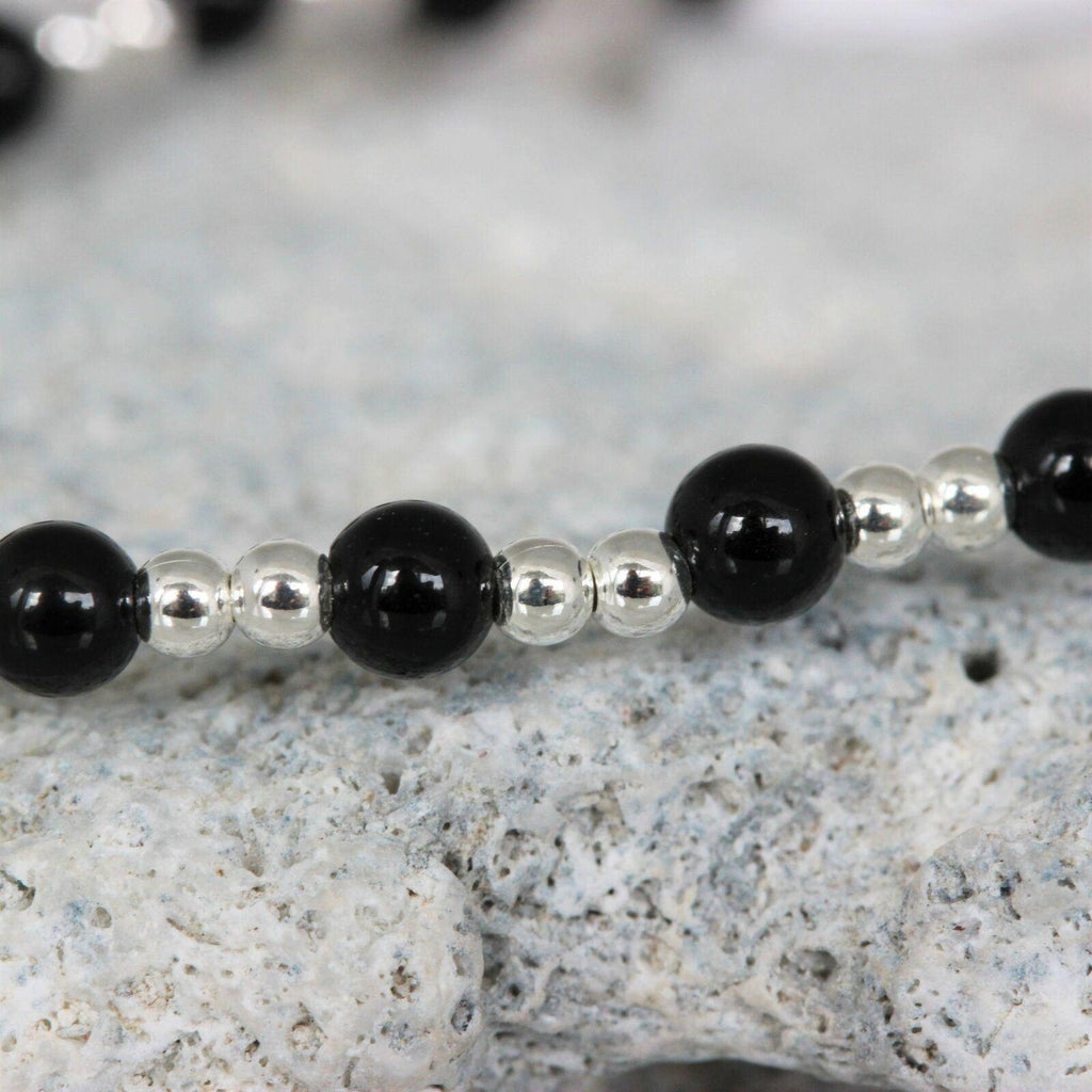 Sterling Silver 925 2 x 3mm Small Bead Balls & Black Onyx 18cm Stretch Bracelet