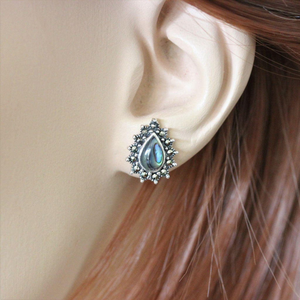 Genuine Sterling Silver 925 Marcasite & Abalone Shell Pear Shape Stud Earrings
