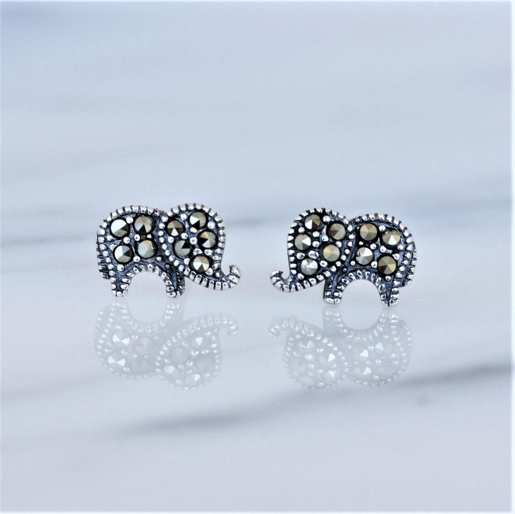 Sterling Silver 925 Marcasite Vintage Style Elephant Stud Earrings
