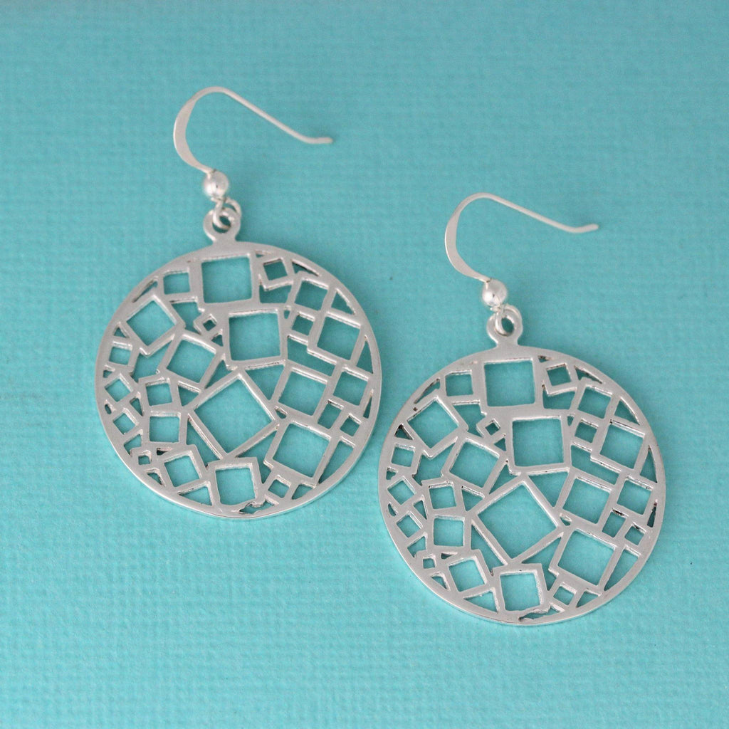 Sterling Silver Big Round Cut Out Geometric Square Pattern Drop Dangle Earrings