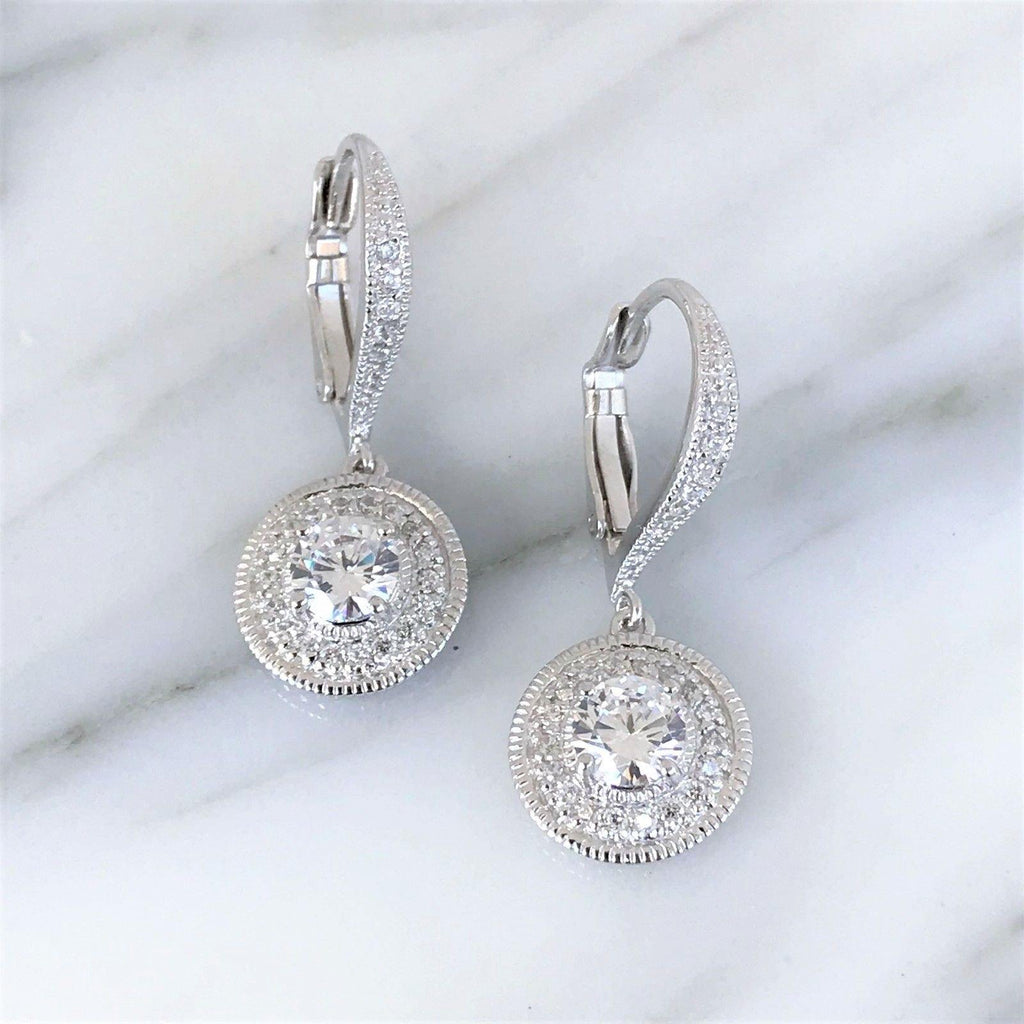 Genuine Sterling Silver 925 Bridal Wedding Vintage Style CZ Leverback Earrings