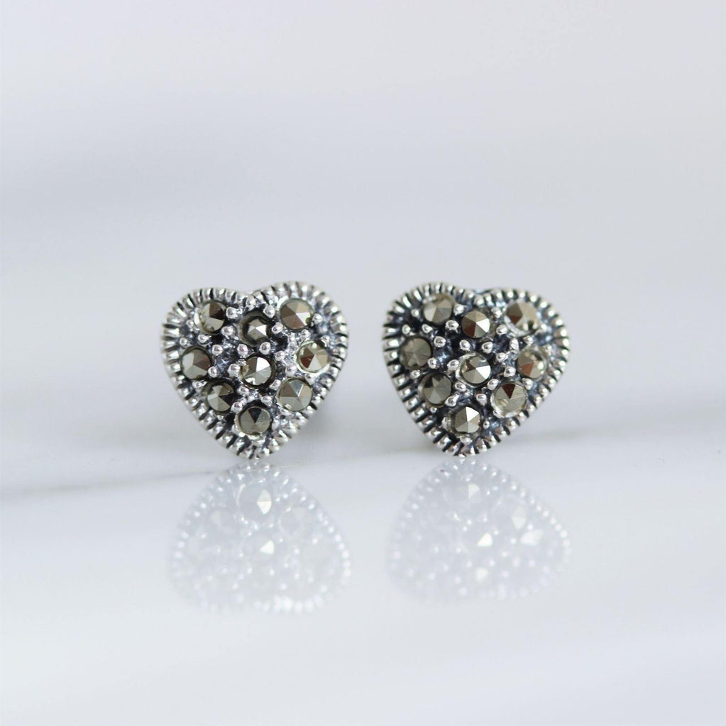 Sterling Silver 925 Marcasite Vintage Style Small 7mm Heart Stud Earrings