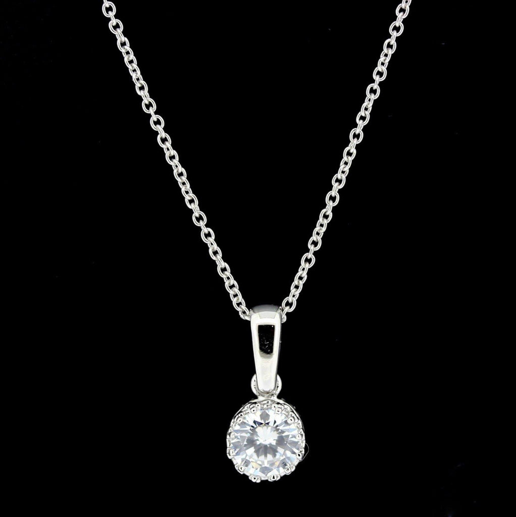 Sterling Silver Vintage Inspired 7mm Round Solitaire CZ Pendant & 40cm Necklace