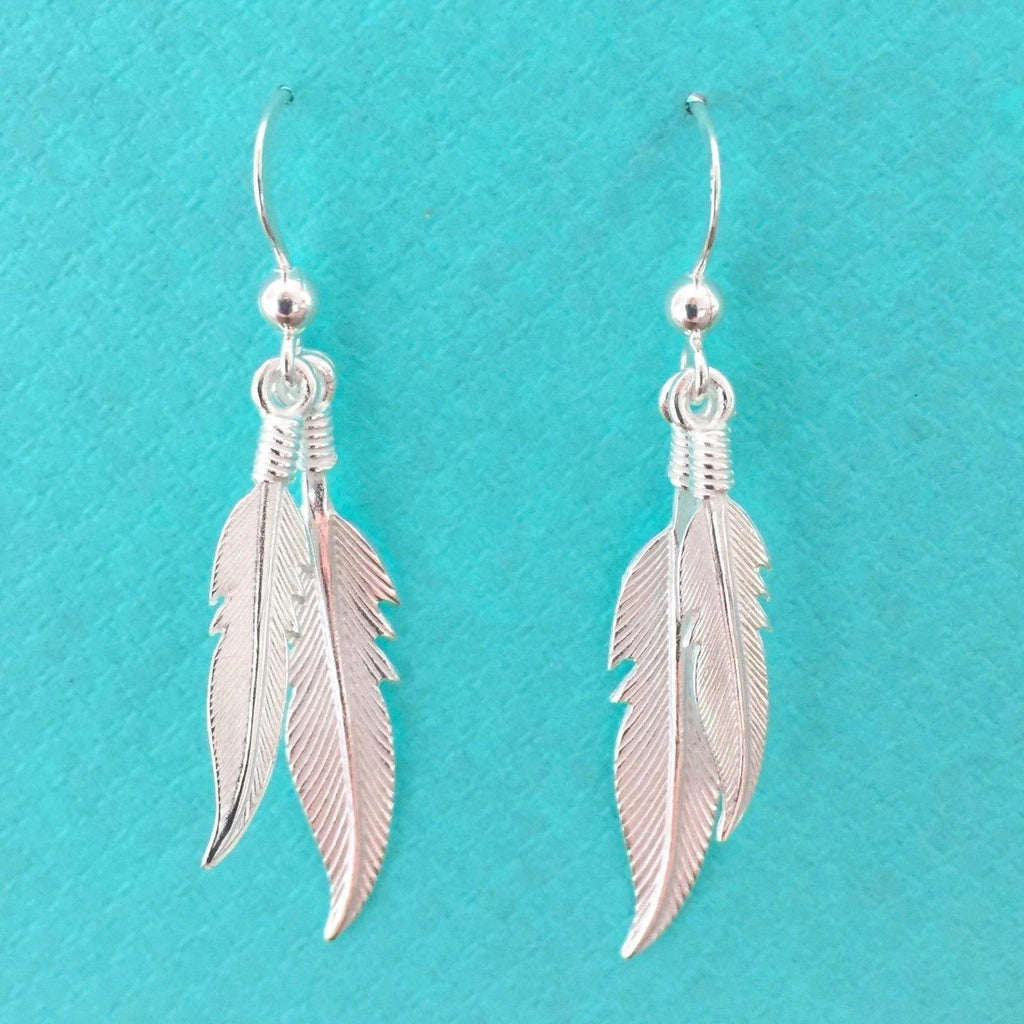Genuine Sterling Silver 925 Double Feather Leaf Fish Hook Drop Dangle Earrings