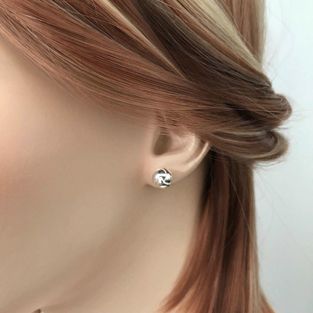 Genuine Sterling Silver 925 8mm Knot Round Ball Stud Post Earrings