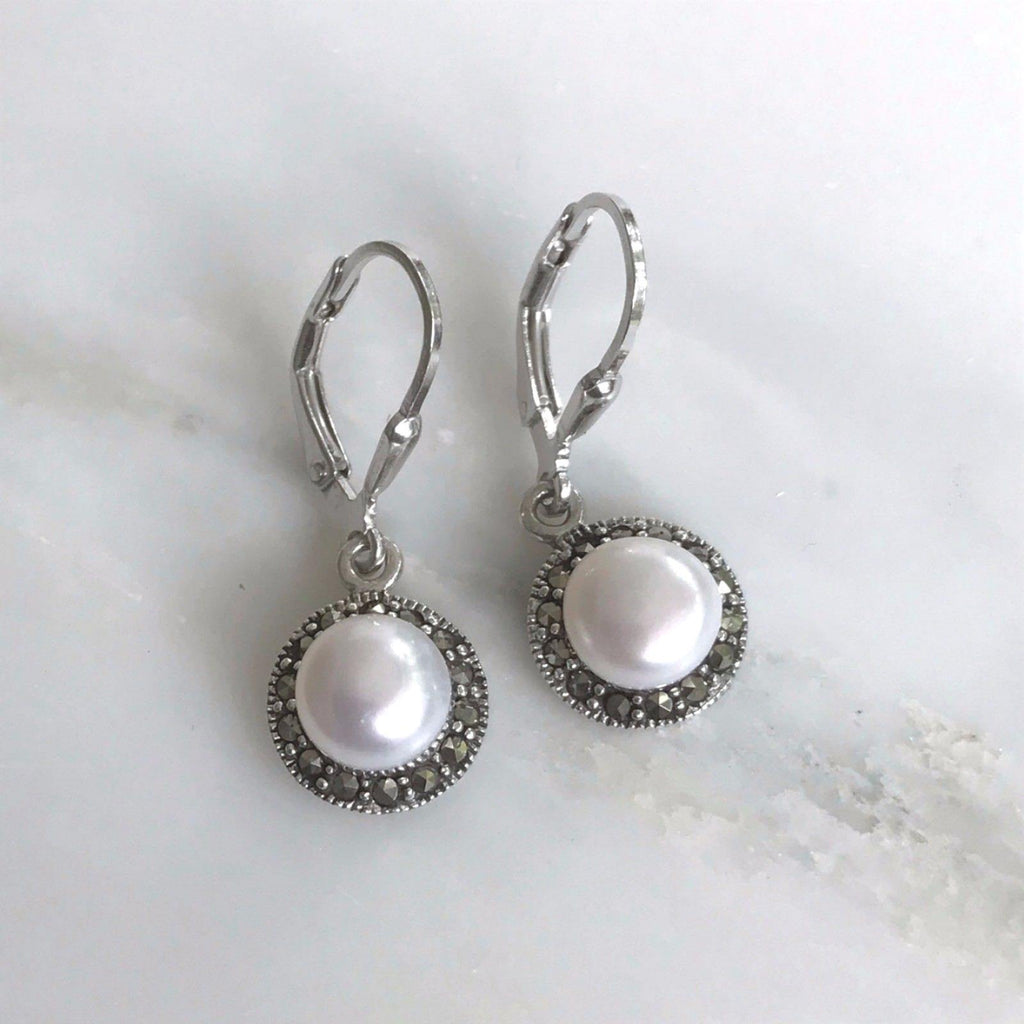 Sterling Silver Marcasite & 7mm Fresh Water Pearl Bridal Leverback Drop Earring
