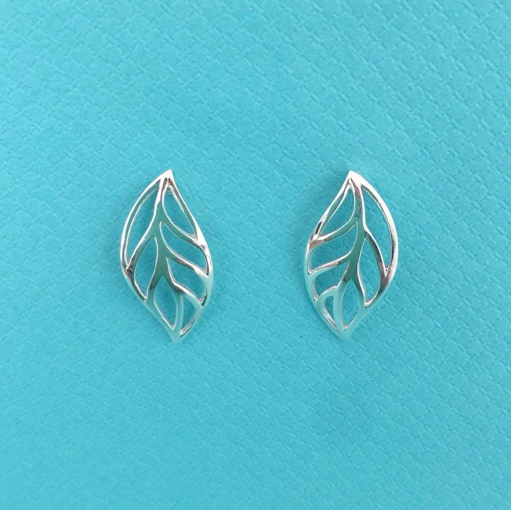 Genuine Sterling Silver 925 Big Cut Out Leaf Leaves Stud Drop Earrings