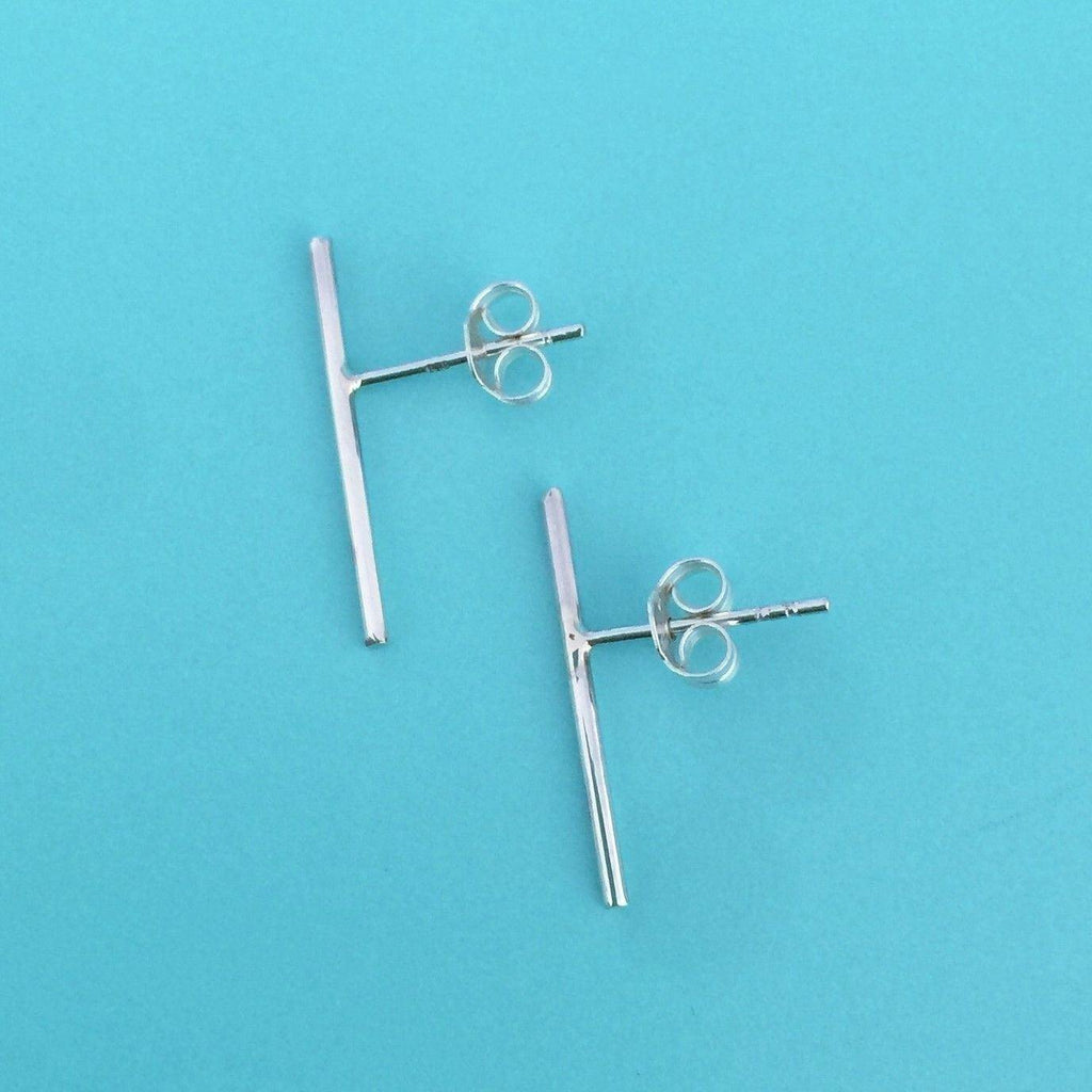 Genuine Sterling Silver 925 1x19mm Long Thin Simple Bar Stick Stud Earrings
