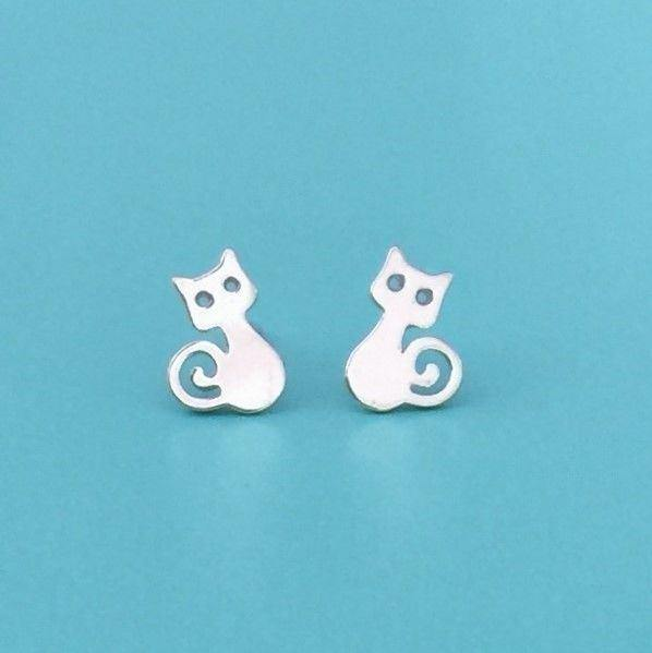Genuine Sterling Silver 925 Kitten Cat Earrings Studs For Ladies Or Kids