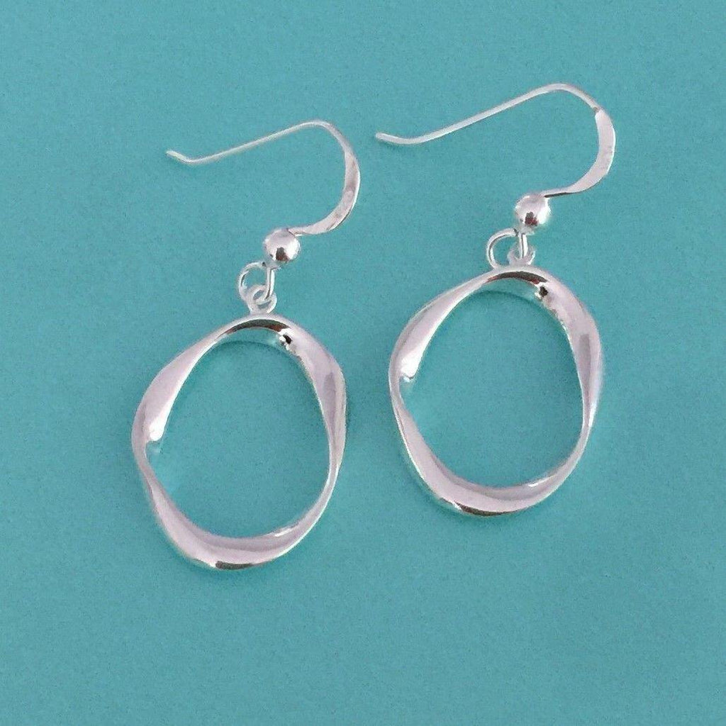Genuine Sterling Silver 925 Asymmetrical Oval Shape Hook Drop Dangle Earrings