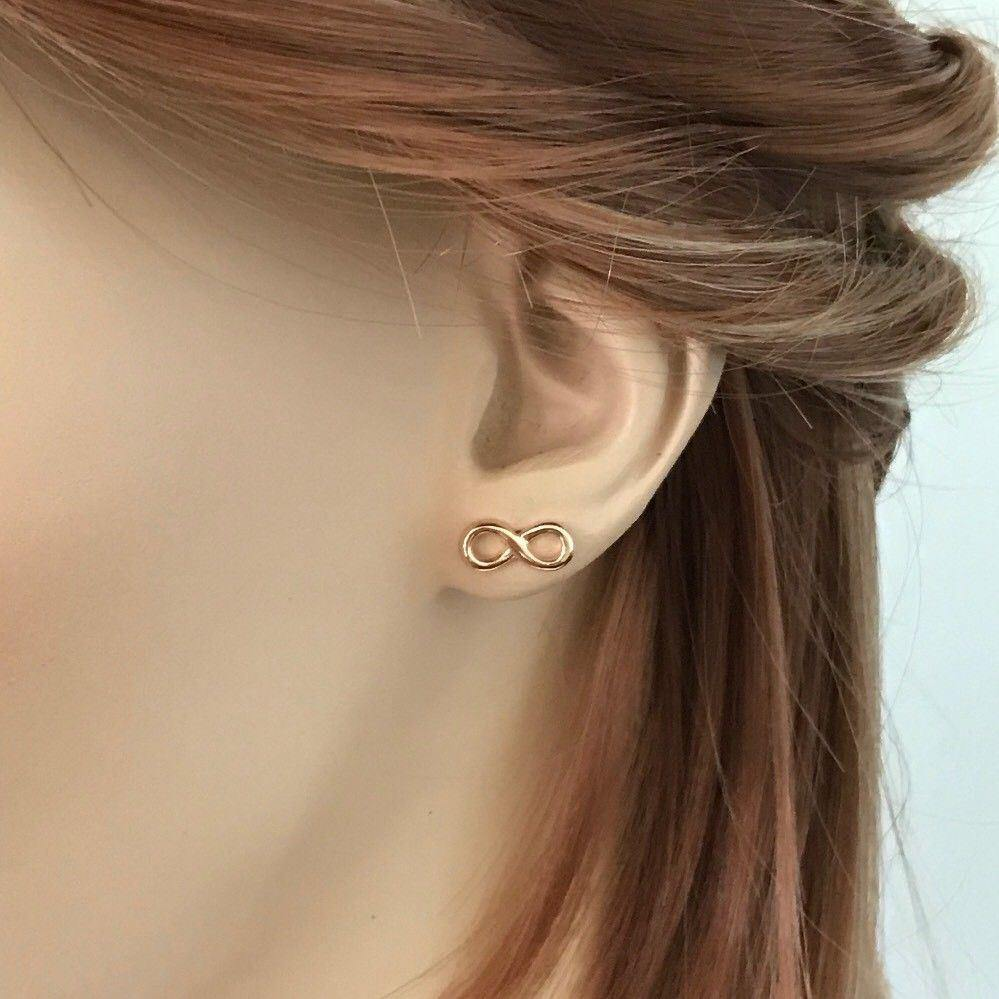 Sterling Silver 925 Rose Gold Plated Eternity Infinity Symbol Stud Earrings