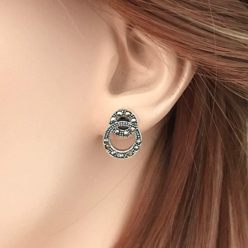 Sterling Silver 925 Marcasite Vintage Style Double Circle Drop Stud Earrings