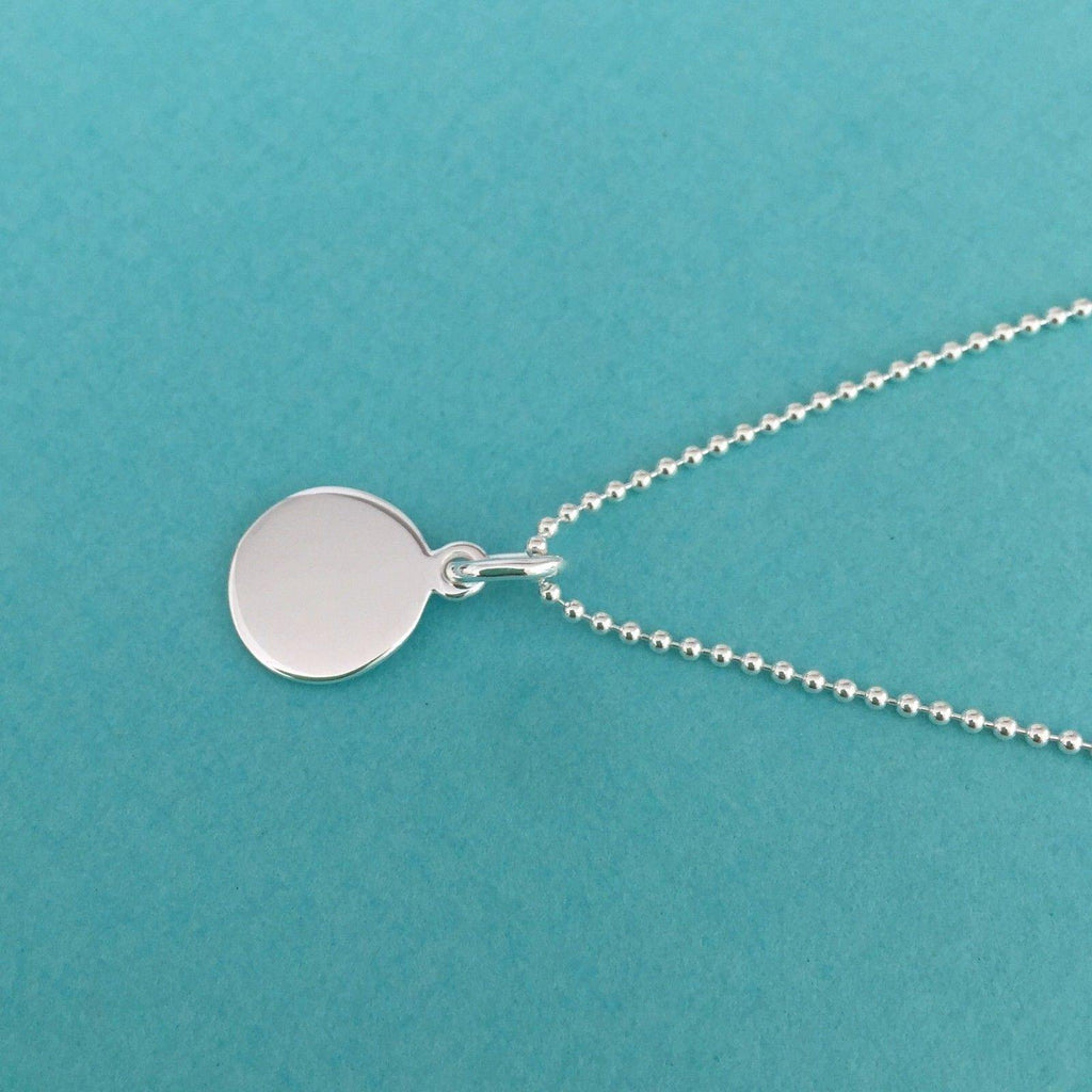 Genuine Sterling Silver 12mm Round Disc Pendant & 45cm Ball Chain Necklace