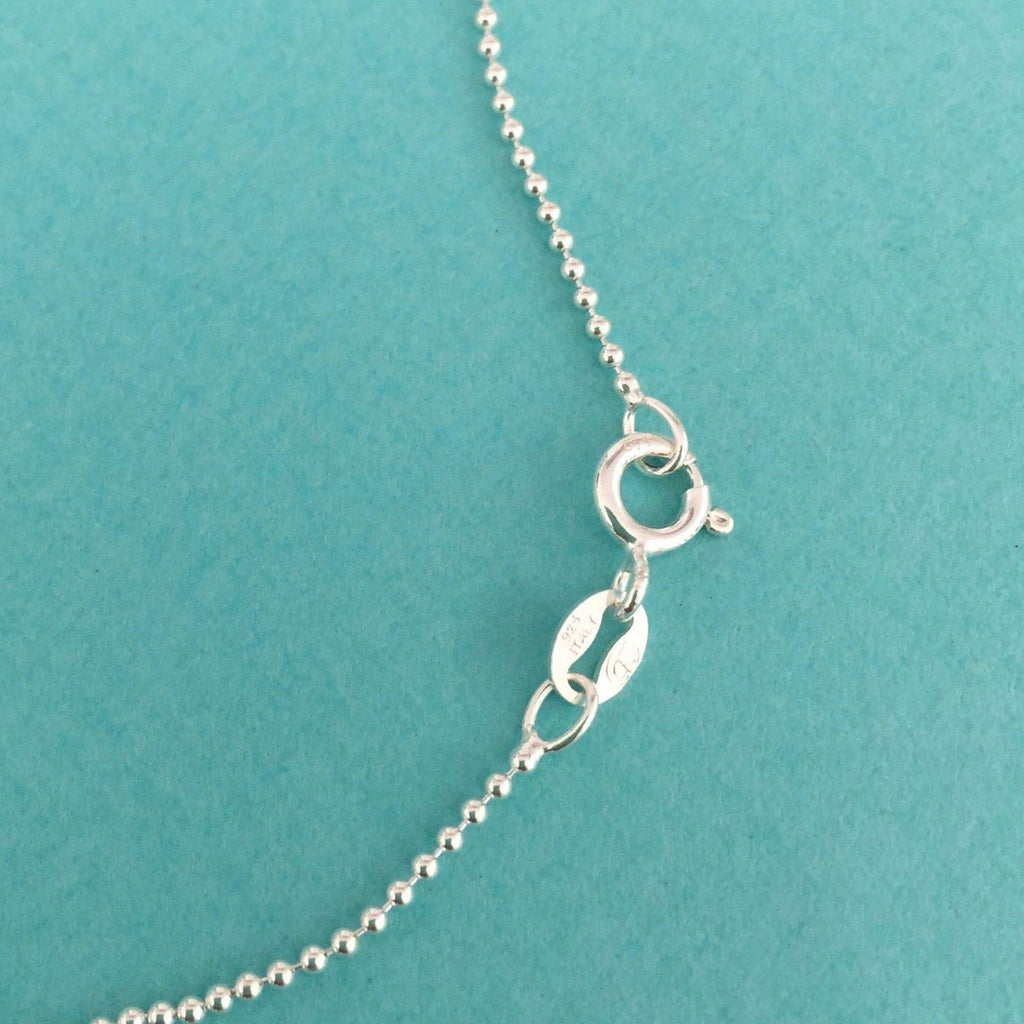 Genuine Sterling Silver 925 Disc & Angel Wing Pendant & 45cm Ball Chain Necklace