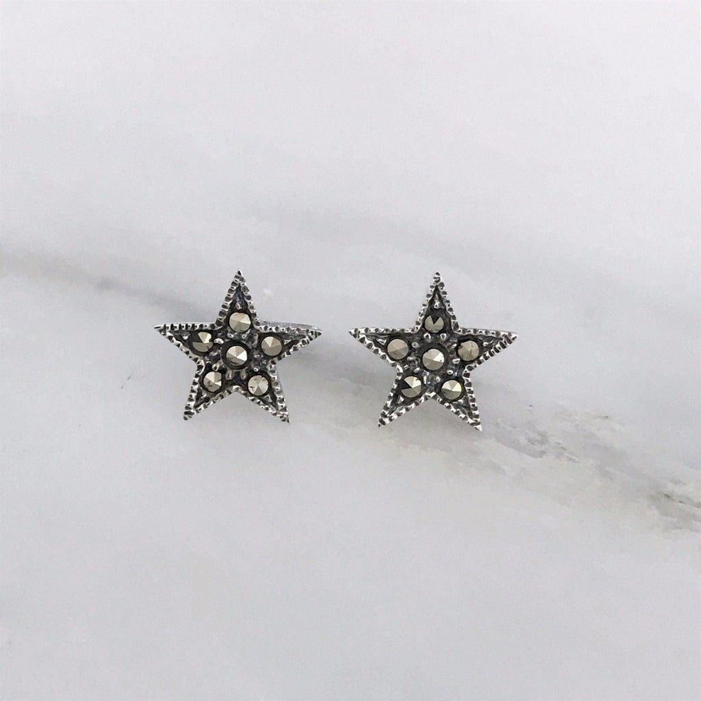 Genuine Sterling Silver 925 11mm Star Marcasite Vintage Style Stud Earrings