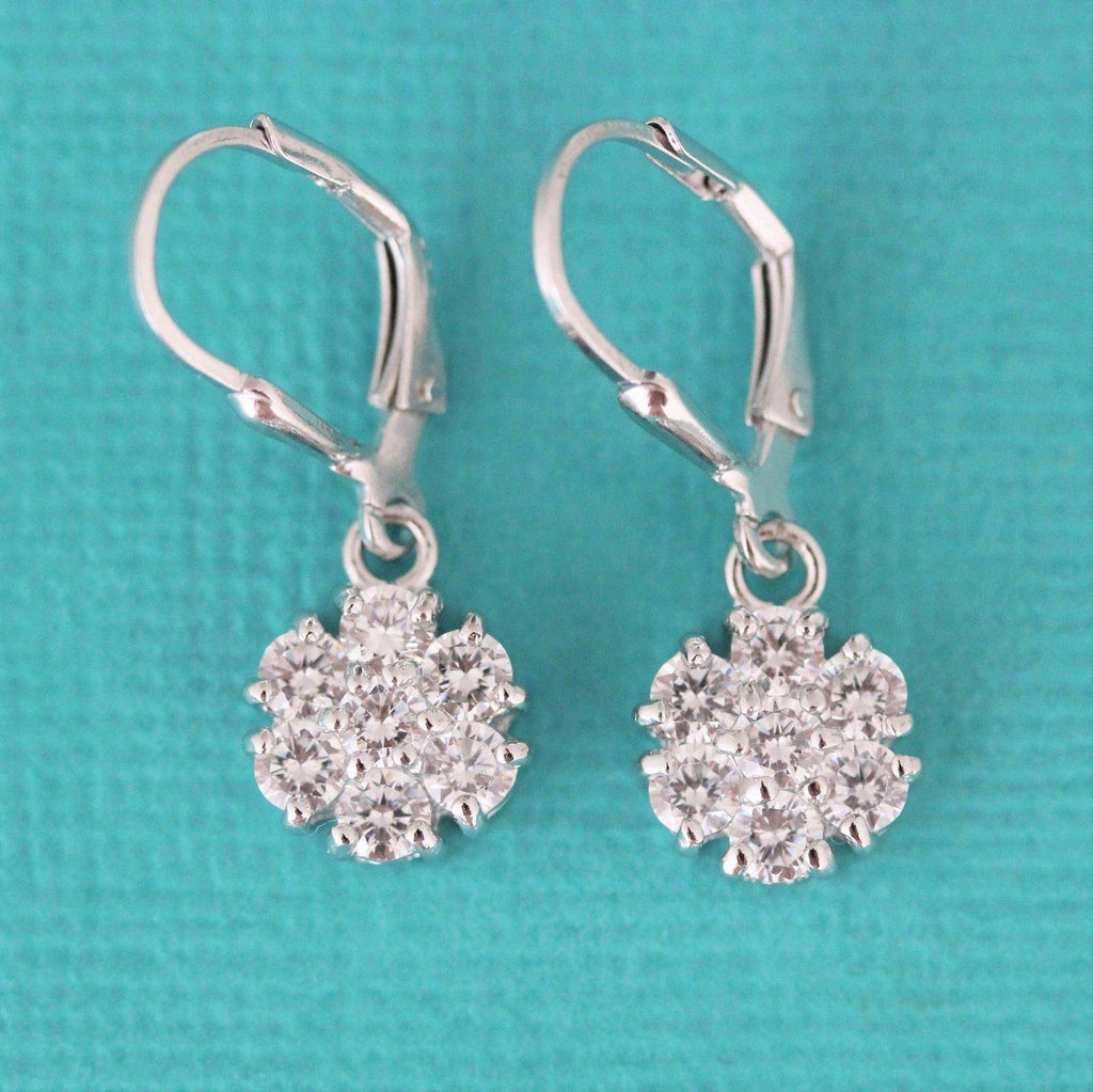Sterling Silver 925 Bridal 10mm CZ Cluster Flower Drop Leverback Earrings